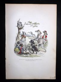 Grandville 1842 Hand Col Print. Birds hunted by Dogs